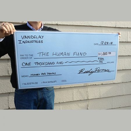 Custom printed Chipboard Cheque