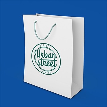 white paper bag with print